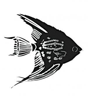 Encaustic stamp angel fish (55 x 50 mm)
