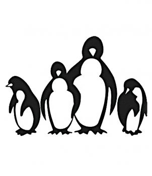 Encaustic stamp penguins (55 x 50 mm)