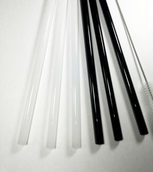 glass straw set black and white
