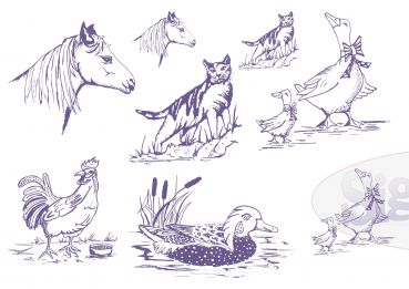 Pattern for pyrography 'Animals'