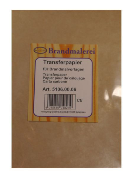 Transferpaper for wood-burning pattern
